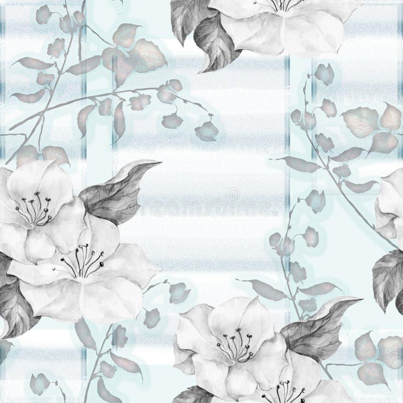 bezszwowy wzór na błękitnym tle pisze kwiaty ja obrazu obrazka akwarela ilustracja wektor