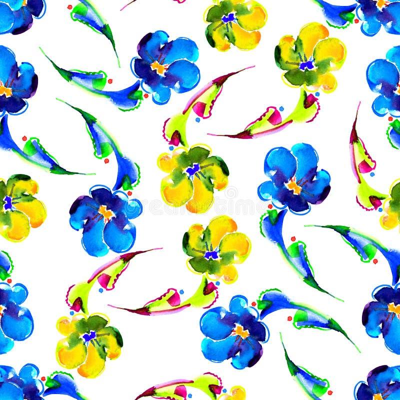 Bezszwowy wzór na białym tle pisze kwiaty ja obrazu obrazka akwarela ilustracja wektor