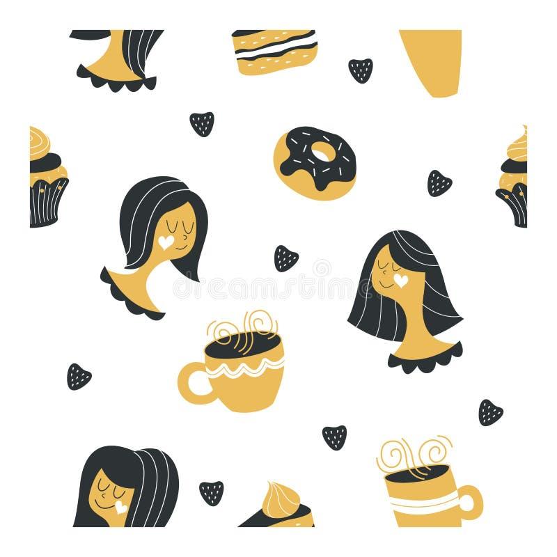Bezszwowy wzór na białym tle Różne ładne dziewczyny Torty, ciasta, cukierki i filiżanki z gorącymi napojami, Wektorowy Illustrati ilustracja wektor