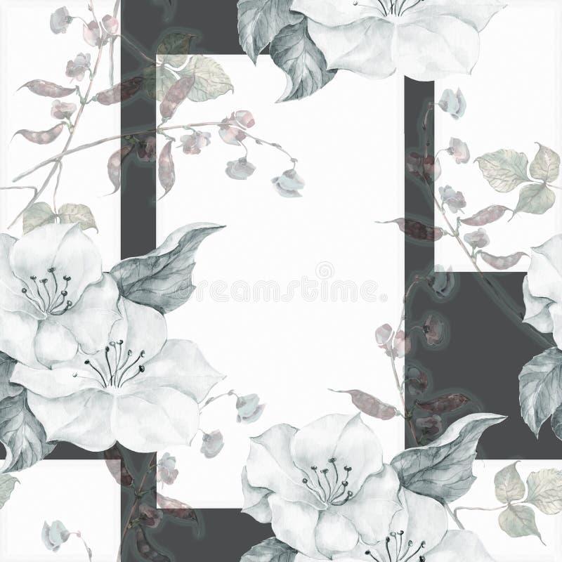 Bezszwowy wzór na ciemnym tle pisze kwiaty ja obrazu obrazka akwarela ilustracja wektor
