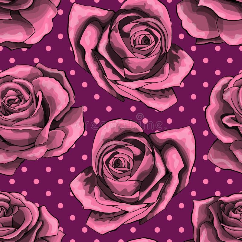 Bezszwowy wzór na polek kropek tle, tło z różowymi różami, odizolowywać royalty ilustracja