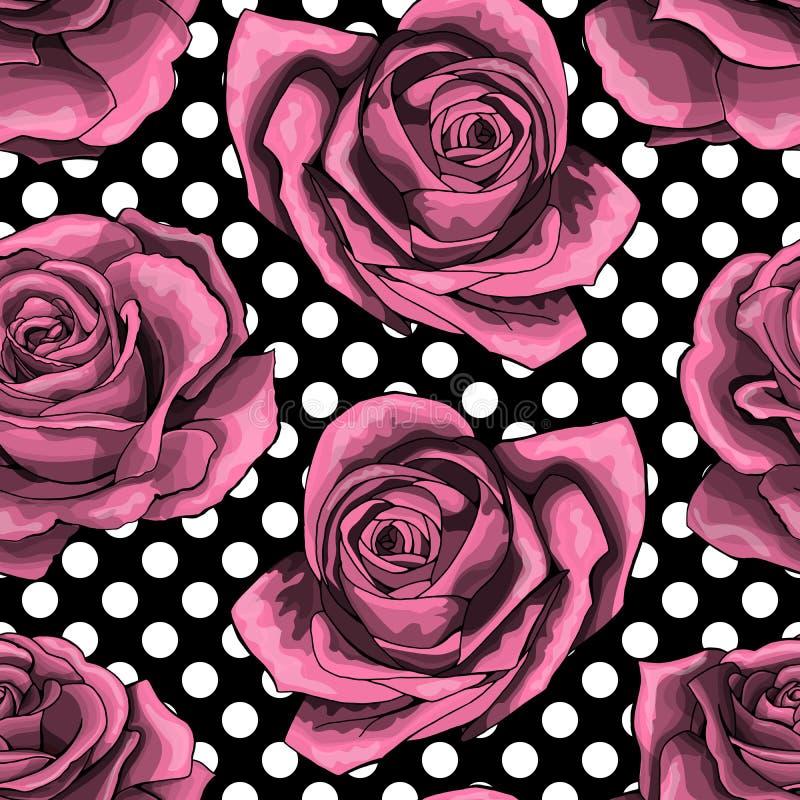 Bezszwowy wzór na polek kropek tle, tło z zarysowanymi różowymi różami, ilustracji