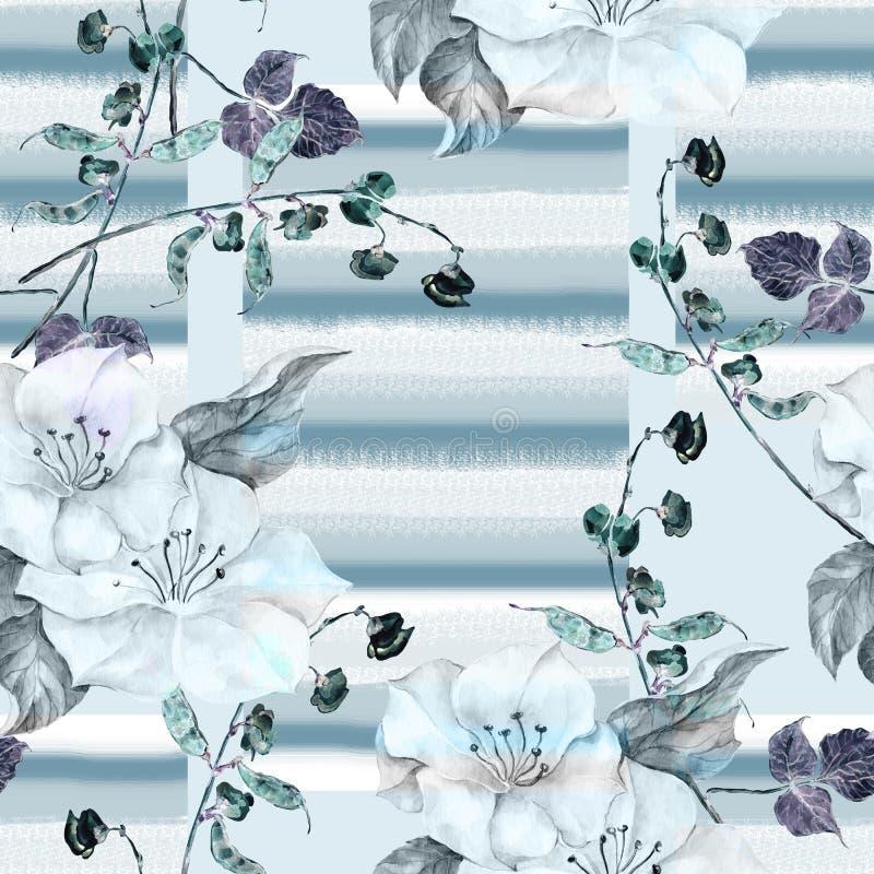 Bezszwowy wzór na szarym tle pisze kwiaty ja obrazu obrazka akwarela ilustracja wektor