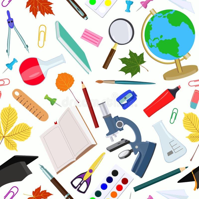 Bezszwowy wzór na szkolnym temacie również zwrócić corel ilustracji wektora ilustracja wektor