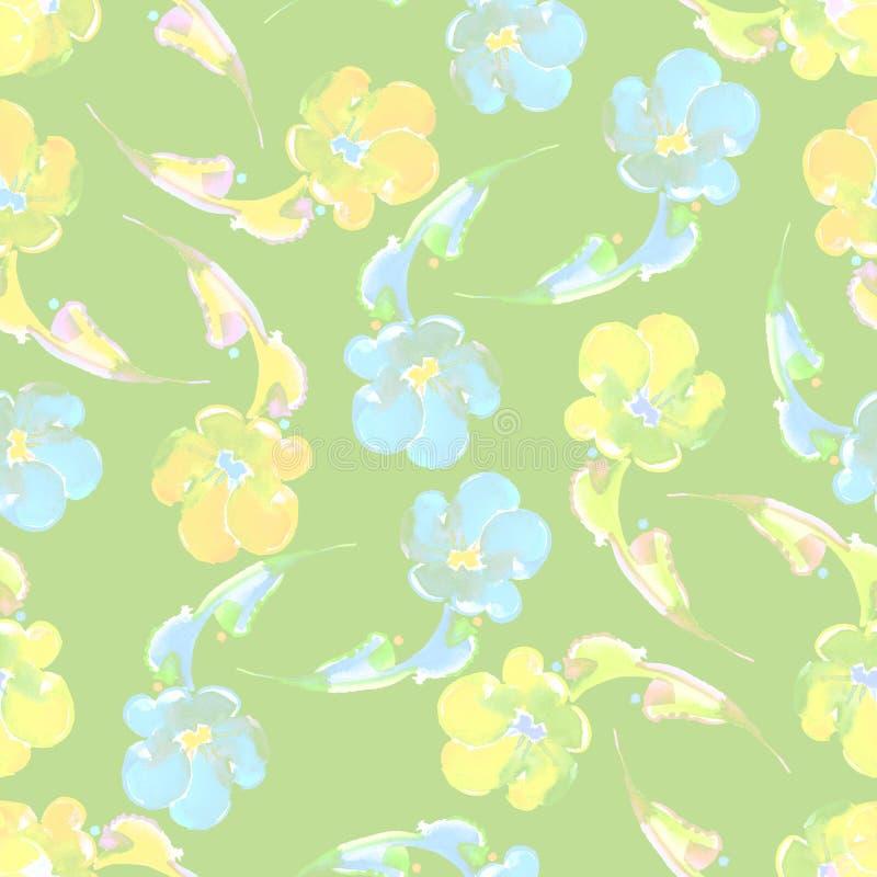 Bezszwowy wzór na wapno zieleni tle pisze kwiaty ja obrazu obrazka akwarela ilustracji