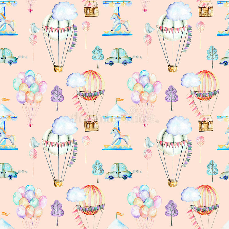 Bezszwowy wzór na weekendowym temacie; akwarela lotniczy balony, aerostaty, carousel i samochody, ilustracja wektor