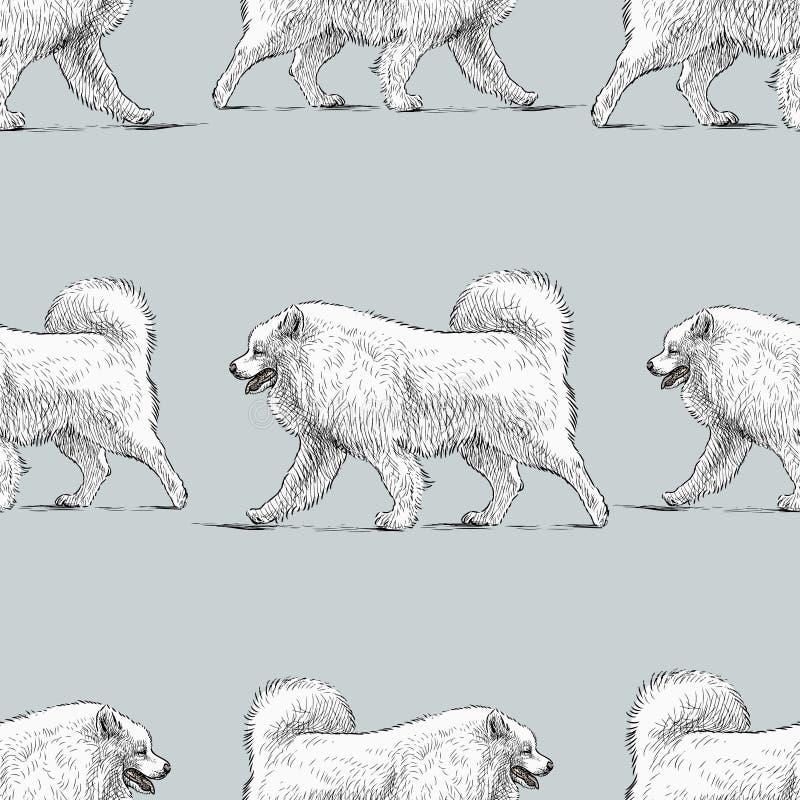 Bezszwowy wzór nakreślenia chodzący husky pies ilustracji