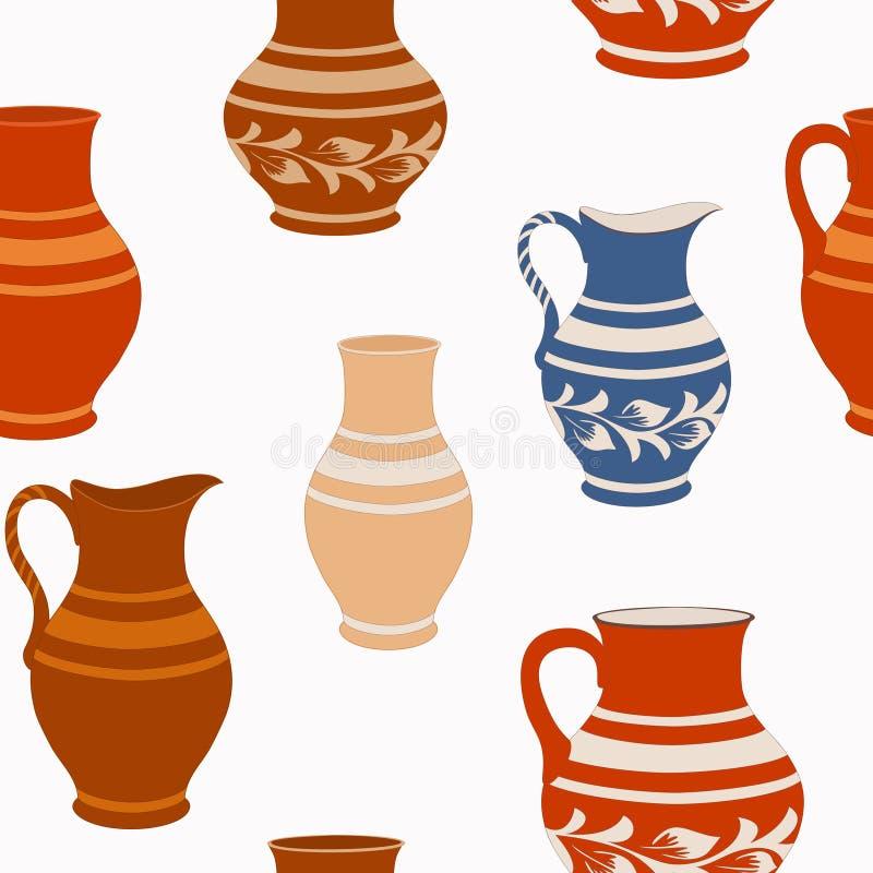 Bezszwowy wzór od ceramicznego crockery ilustracja wektor