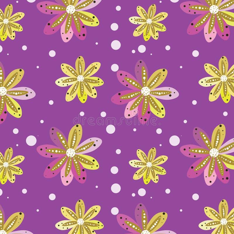 Bezszwowy wzór od fantastycznych kwiatów na lilym tle fotografia stock