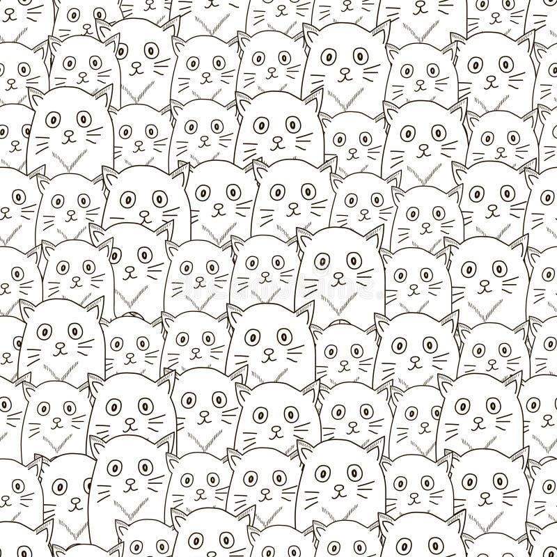 Bezszwowy wzór od kotów ilustracja wektor