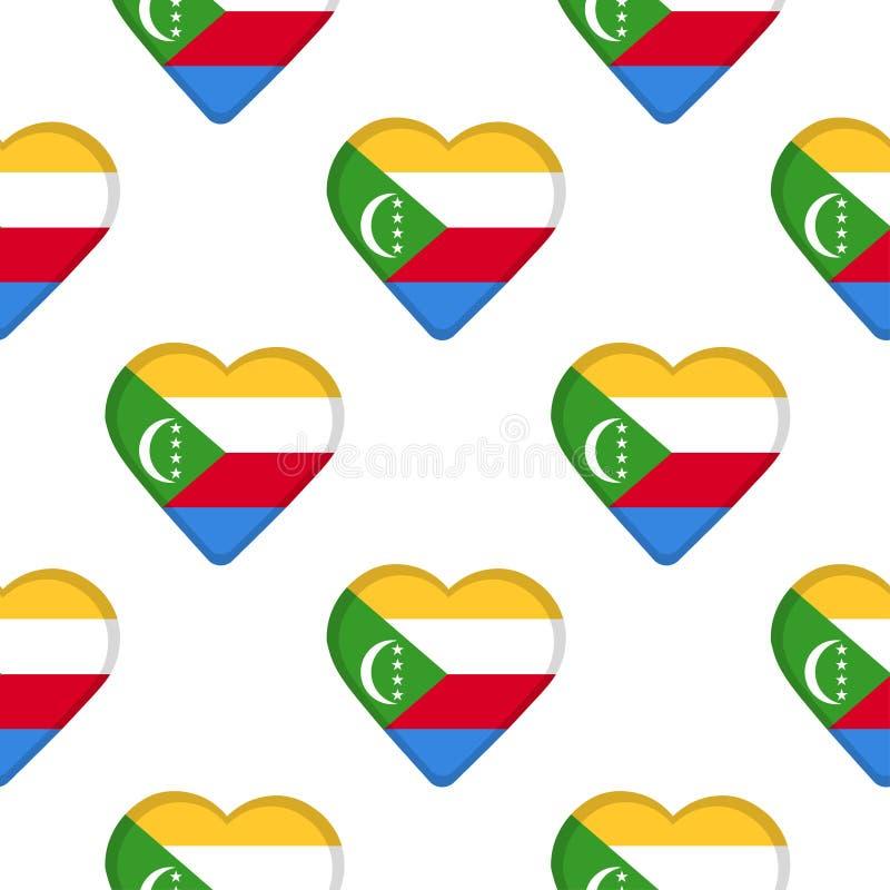 Bezszwowy wzór od serc z flaga zjednoczenie Comor ilustracja wektor