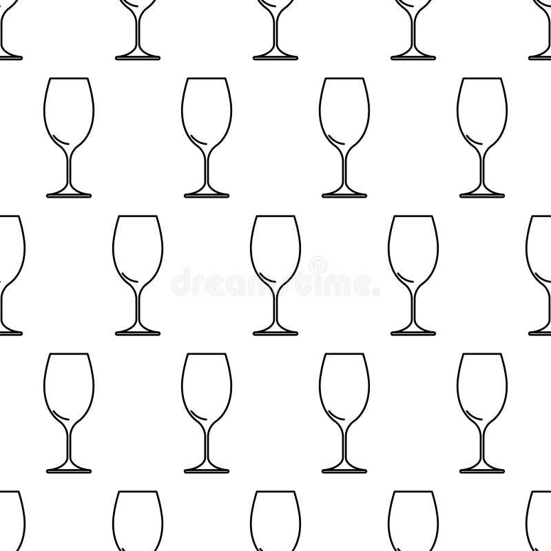 Bezszwowy wzór od wina szkła czerni konturu na bielu ilustracji