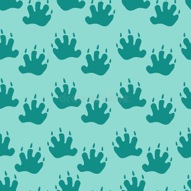 Bezszwowy wzór: odciski stopi na błękitnym tle P?aski wektor ilustracja wektor