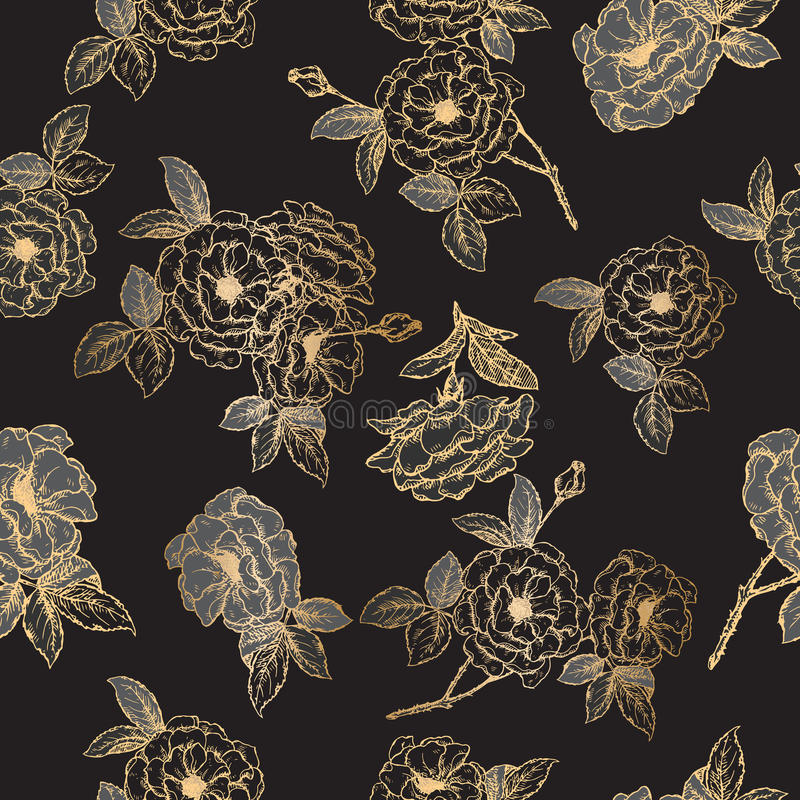 Bezszwowy wzór opierający się na czarnym i złotym adamaszek róży nakreśleniu ilustracja wektor