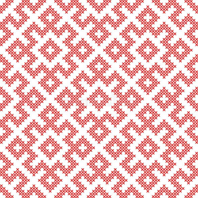 Bezszwowy wzór opierający się na tradycyjnym rosjanina i slavic ornamencie ilustracja wektor