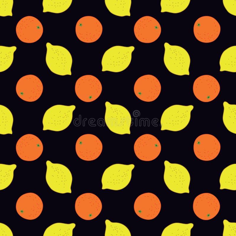 Bezszwowy wzór owoc - cytryny i pomarańcze royalty ilustracja