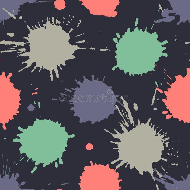 Bezszwowy wzór, płytka z inc pluśnięciem, kleksy, smudge i muśnięć uderzenia, Grunge niekończący się szablon dla sieci tła, druki ilustracji