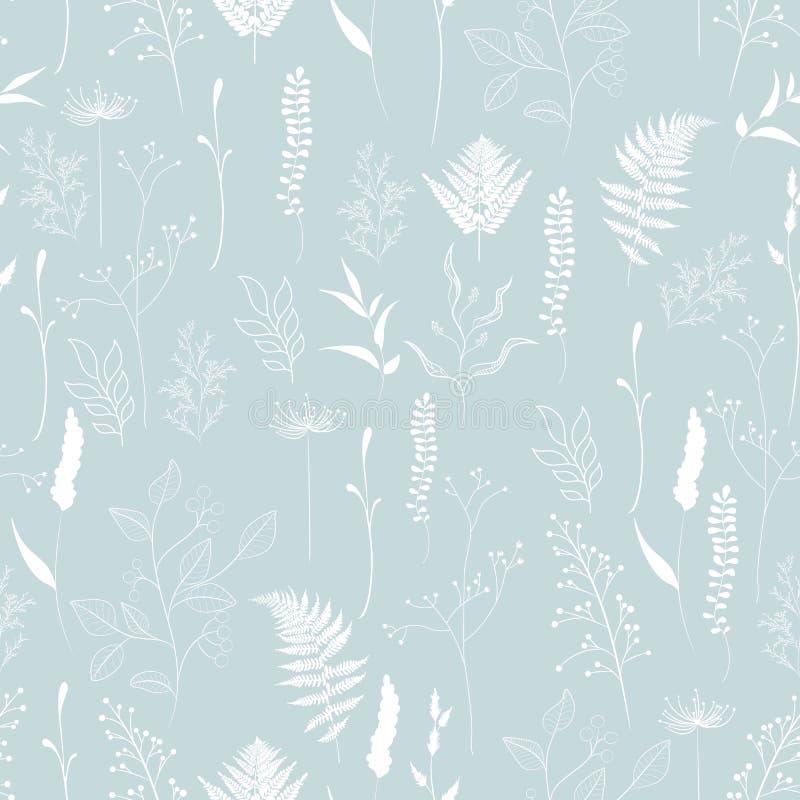 Bezszwowy wzór paproć, różny drzewo, ulistnienie naturalne gałąź, zieleni liście, ziele ilustracja wektor