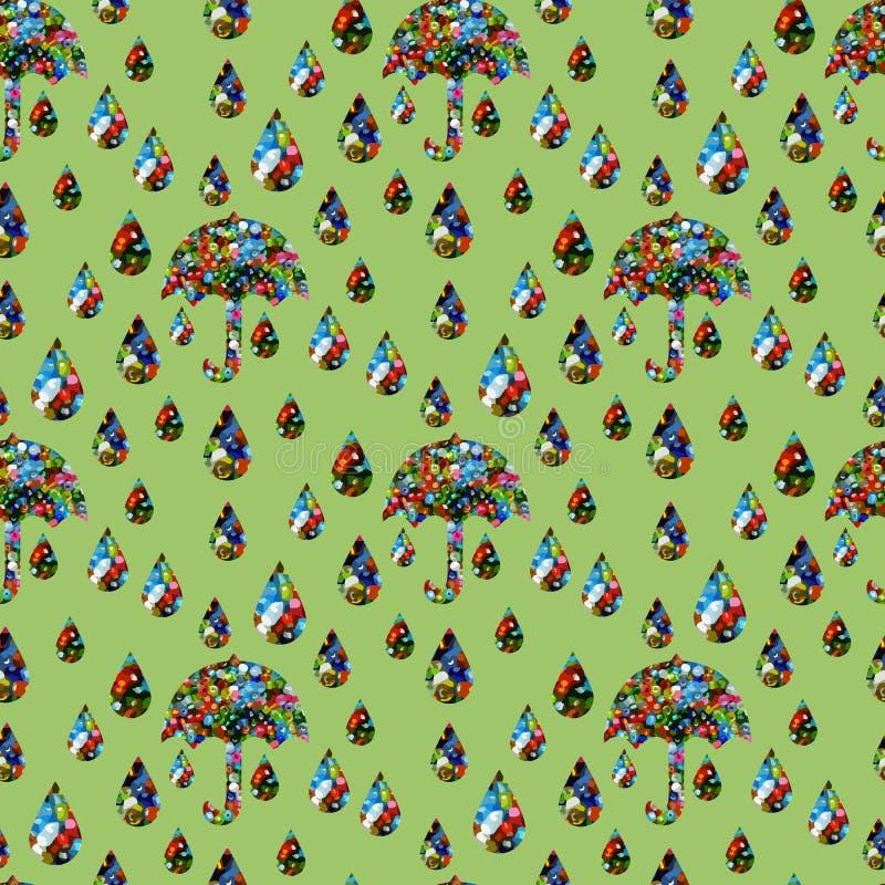 Bezszwowy wzór parasole i raindrops z zielonym tłem royalty ilustracja