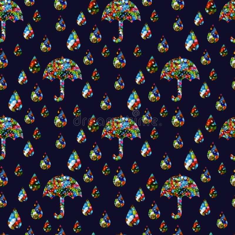 Bezszwowy wzór parasole i raindrops z zmrokiem - błękitny tło ilustracji