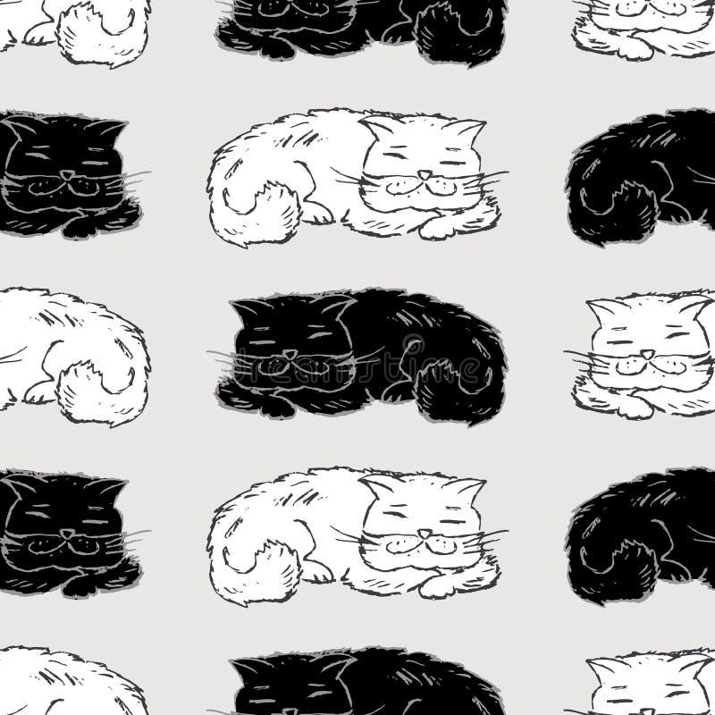 Bezszwowy wzór patroszeni sypialni koty royalty ilustracja