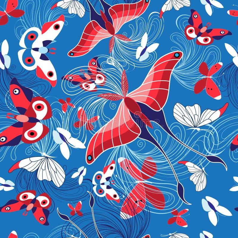 Bezszwowy wzór piękni motyle ilustracji