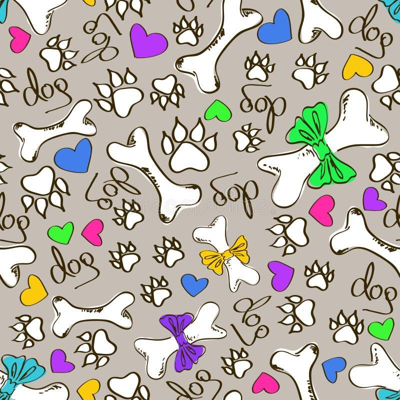 Bezszwowy wzór pies kości i łapy ilustracji