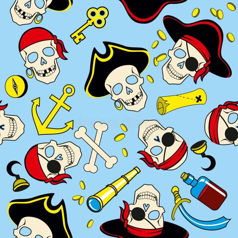Bezszwowy wzór pirata bezszwowy tło royalty ilustracja