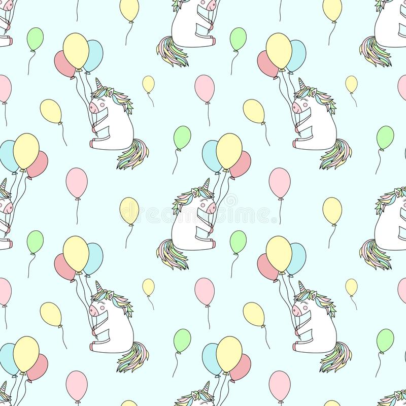 Bezszwowy wzór pociągany ręcznie cartoony uśmiechnięte jednorożec z balonami Wektorowy tło wizerunek dla wakacje, dziecko pryszni ilustracji