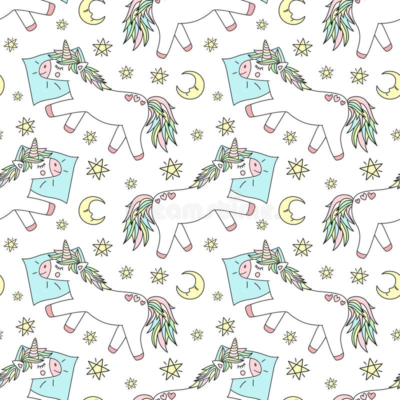 Bezszwowy wzór pociągany ręcznie sypialne jednorożec na poduszce z księżyc i gwiazdami Wektorowy tło wizerunek dla druków dla piż ilustracja wektor