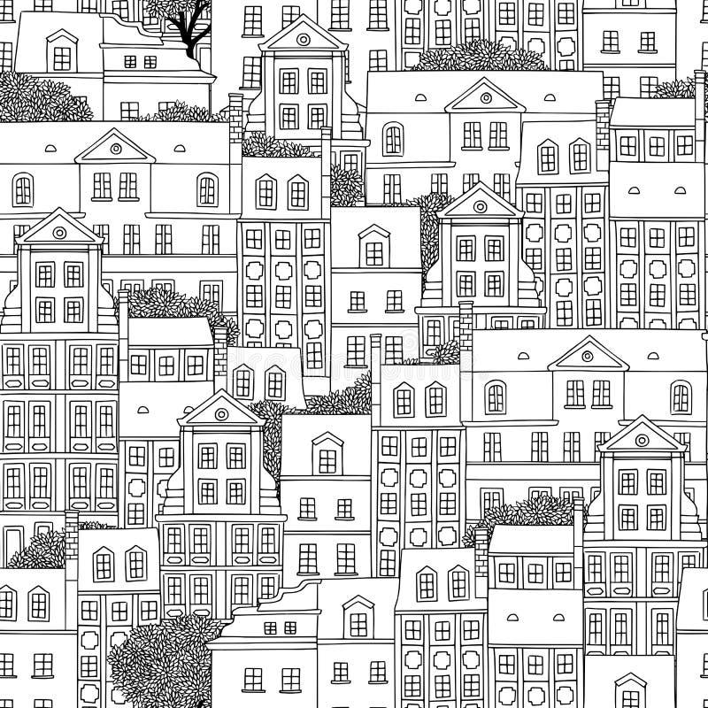 Bezszwowy wzór Polscy domy ilustracji