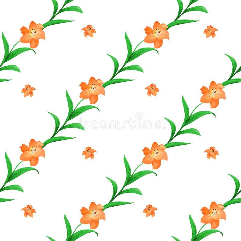 Bezszwowy wzór pomarańczowe leluje różny rozmiar z zieleń liśćmi przeplatał na białym tle royalty ilustracja