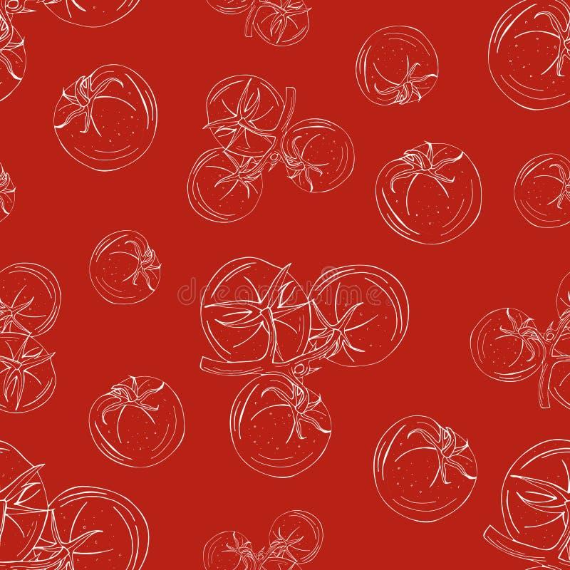 Bezszwowy wzór pomidoru biały kontur na czerwonym tle ilustracji