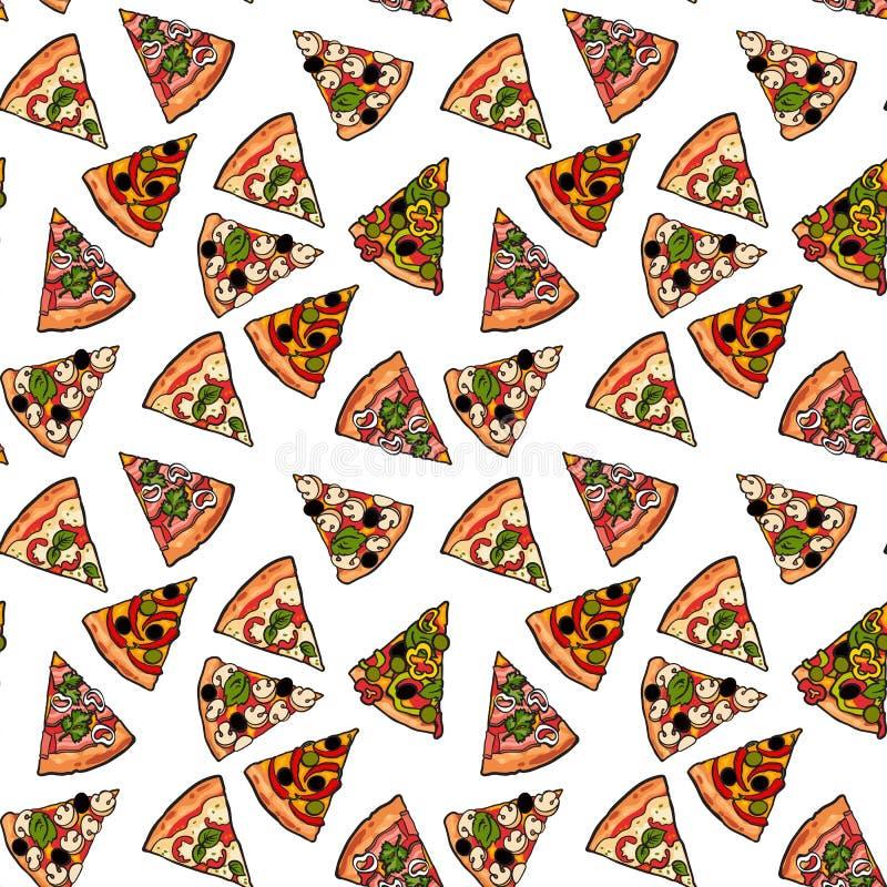 Bezszwowy wzór różnorodni pizza plasterki ilustracja wektor