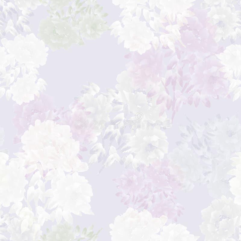 Bezszwowy wzór różowi kwiaty peonie na świetle - różowy tło szczegółowy rysunek kwiecisty pochodzenie wektora akwarela royalty ilustracja