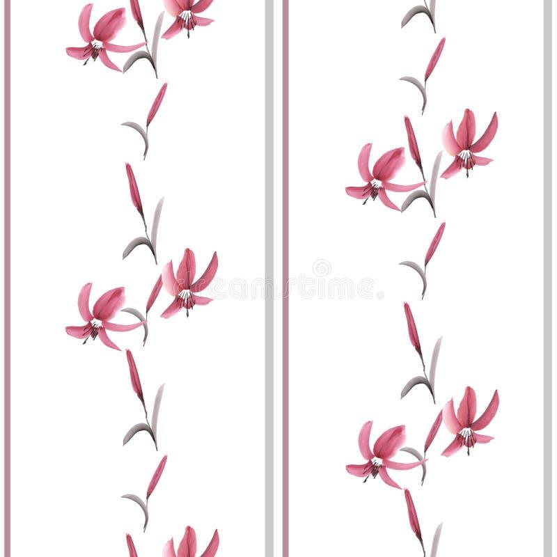 Bezszwowy wzór różowi mali kwiaty i pionowo lampasy na białym tle Akwarela - ilustracja ilustracja wektor