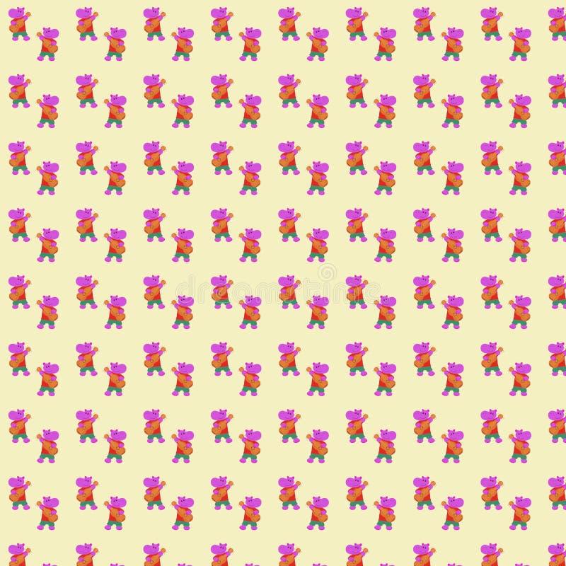 Bezszwowy wzór ręka rysujący śmieszny różowy hipopotam bawić się gitarę royalty ilustracja