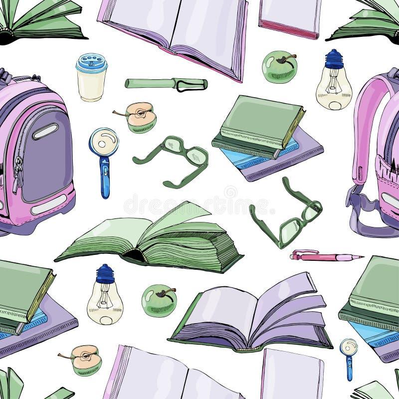 Bezszwowy wzór ręka rysujący atrament i barwiący nakreślenie z książkami i szkół rzeczami Kolorów elementy odizolowywający na bia ilustracji
