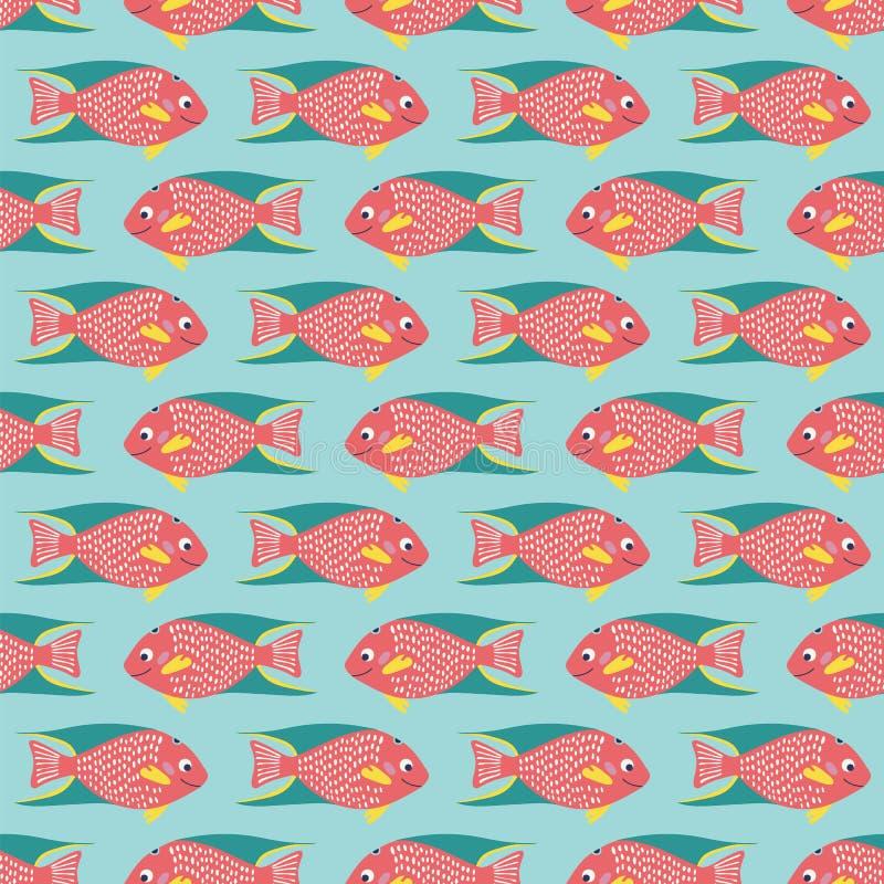 Bezszwowy wzór rafy koralowej ryba na błękitnym tle ilustracji