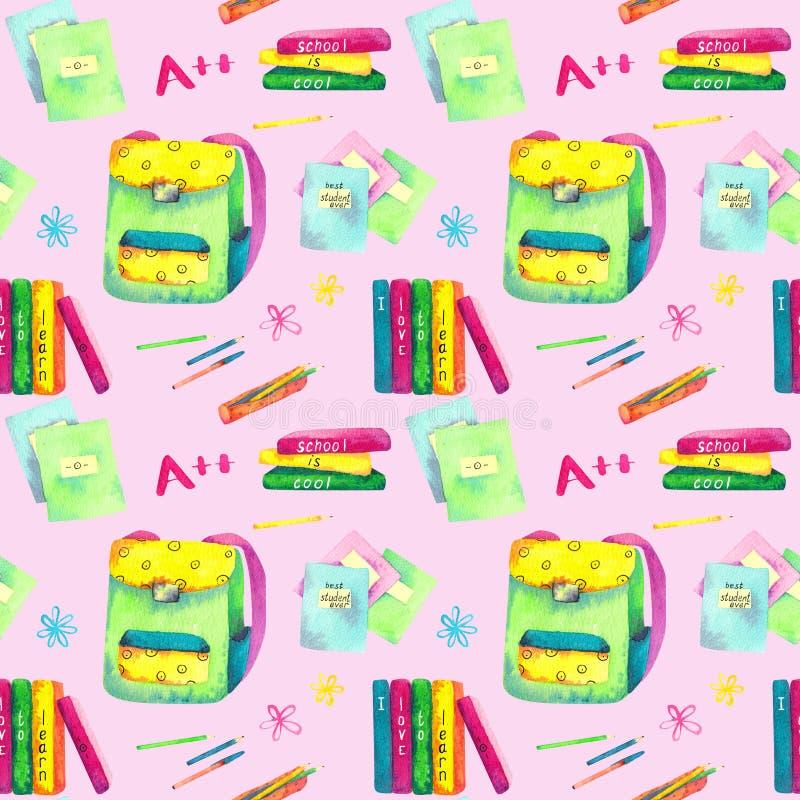 Bezszwowy wzór robić akwarela malował szkolnych akcesoria na różowym tle ilustracja wektor