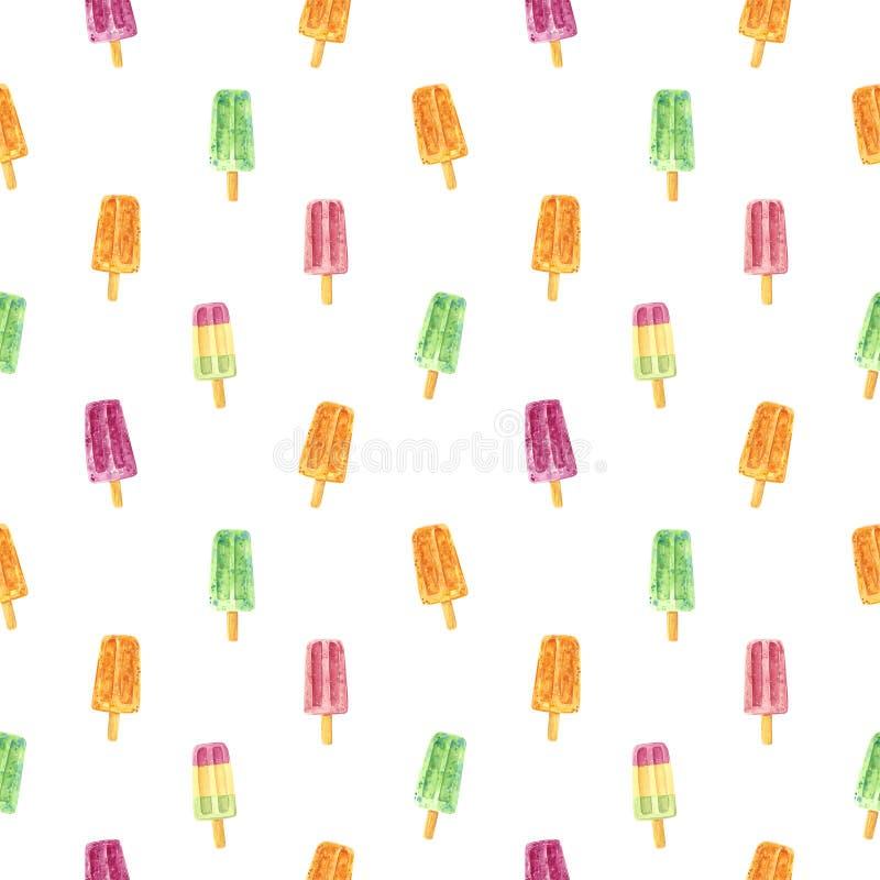 Bezszwowy wzór, robić menchie, zieleni i pomarańcze owoc słodki lód strzela royalty ilustracja
