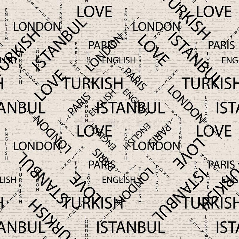 Bezszwowy wzór robić ręcznie pisany tekst Angielscy Londyńscy Paryscy turecczyzn słowa, lettern pisać ręcznie w czarny i biały i ilustracja wektor