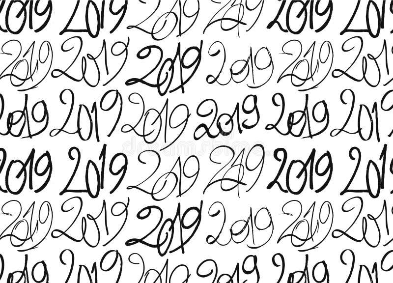 Bezszwowy wzór robić z 2019 ręka rysującymi znakami ilustracja wektor