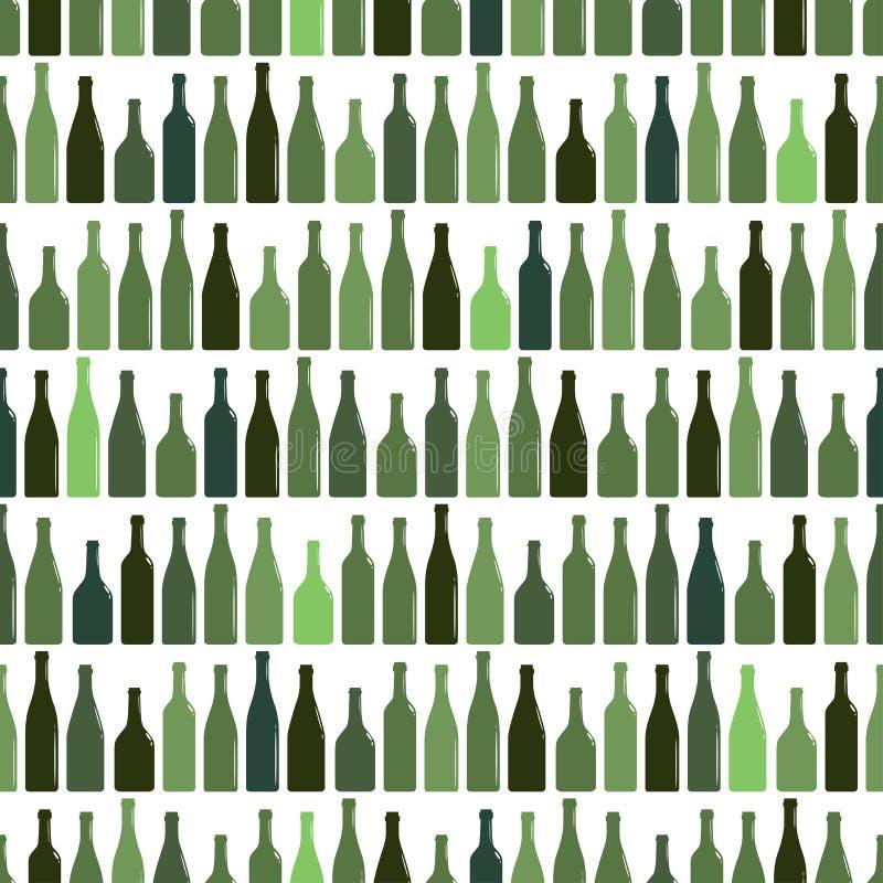 Bezszwowy wzór rzędy barwić wino butelki, wektorowa ilustracja royalty ilustracja