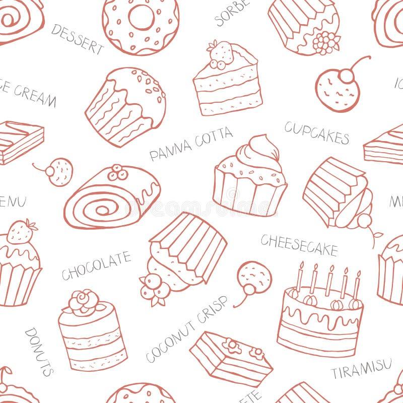 Bezszwowy wzór słodkie babeczki i torty na białym backgrou royalty ilustracja