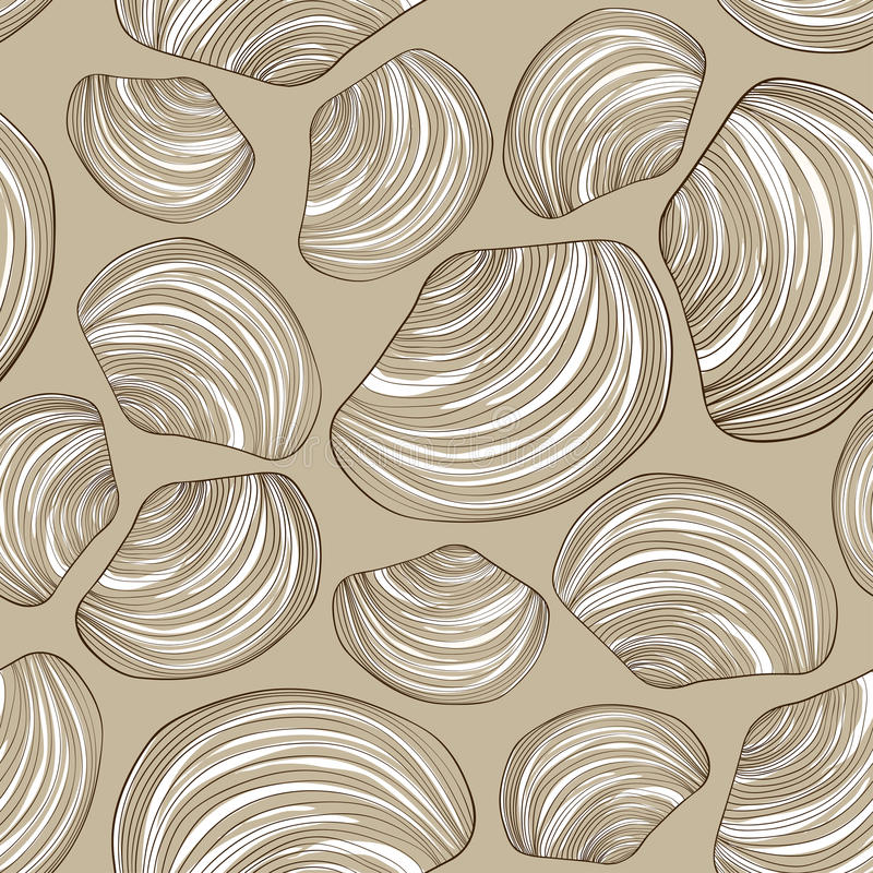 Bezszwowy wzór seashells ilustracja wektor