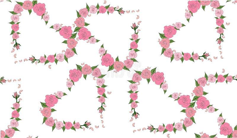 Bezszwowy wzór serc składać się z delikatne róże royalty ilustracja