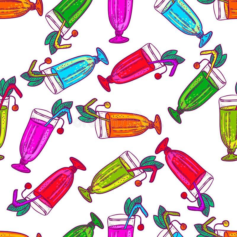 Bezszwowy wzór smoothie ilustracja wektor