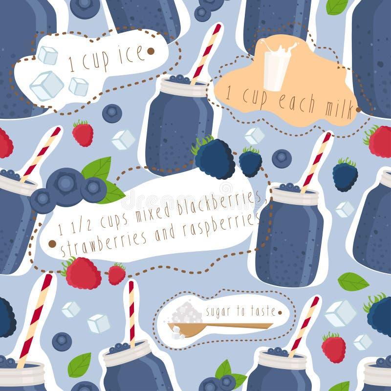Bezszwowy wzór smoothie, malinki i mil, ilustracji