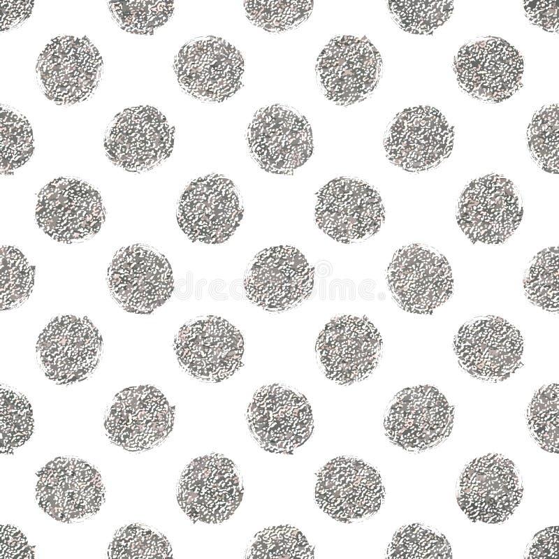 Bezszwowy wzór srebne błyskotliwości polki kropki royalty ilustracja